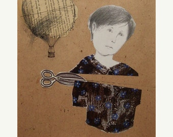 girl woman Love Choice original mixed media illustration collage figurative portrait square