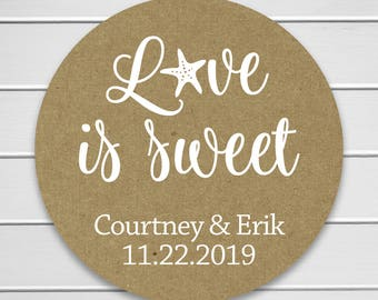 Love Is Sweet Wedding Stickers, Personalized White Ink on Kraft Destination Wedding Stickers/Labels/Envelope Seals  (#553-KR-WT)