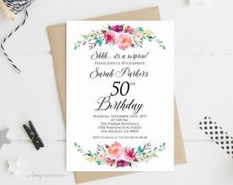 Surprise 50th Birthday Invitation, Floral Birthday Invitation, Any Age Women Birthday Invite, PERSONALIZED, Digital file, #W71