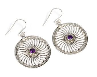 Circle Mandala Amethyst Gemstone Sterling Silver Hang and Drop Earrings Handcrafted Earrings, Gift boxed, Free UK postage