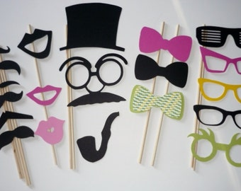 Mustache Photo Booth Prop Set mustache lip hat glasses ties #20 pieces (2011DC)