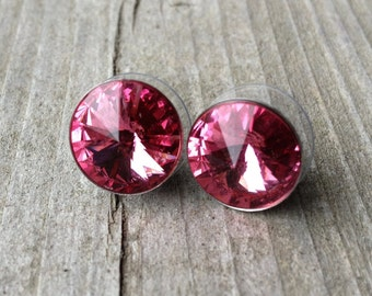 Swarovski Rose Rivoli Crystal Post Earrings 12mm
