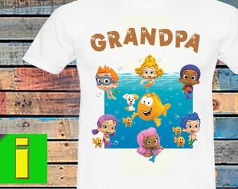 Grandpa ,Bubble Guppies Iron On Transfer,Bubble Guppies Birthday Shirt Iron On Transfer,Bubble Guppies Birthday Party Shirt,Instant Download