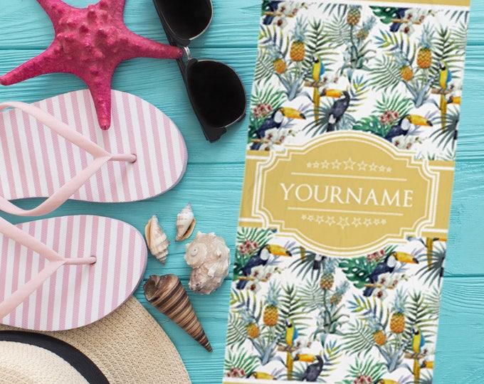 Custom Name Hawaiian Tropical Pattern Beach Towel | Custom Beach Towel | Monogrammed Beach Towel, Personalized Towel, Monogram Pool Towel