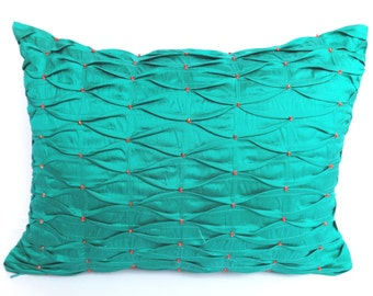 Mint green  silk oblong throw pillow with pintucks and orange beadwork -12X16 inch in stock