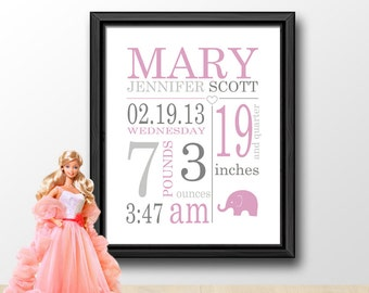Baby girl personalized baby birth stats baby photo prop girl subway art birth announcement girl birth stats wall art baby names girl birth date print baby negle Choice Image