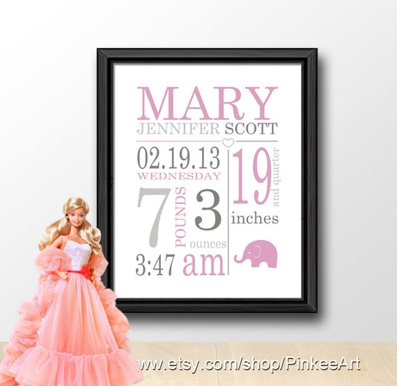 Subway art birth announcement girl birth stats wall art baby like this item negle
