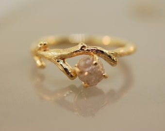 Gold Branch Bud Ring,twig ring,engagement ring, raw diamond ring, gold twig ring, twig ring,branch ring, alternative engagement ring,