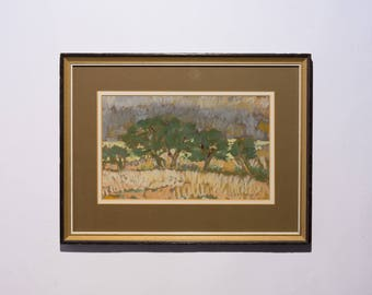 Original pastel from 1981, A Hodge, impressionist, english school, contemporary art, wall art, decor, pastel painting, collectable