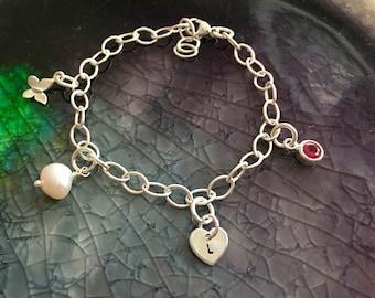 Charm Bracelet - Make Your Own Bracelet - Girls Charm Bracelet - Custom Charm Bracelet - Girls Jewelry - Gift For Girls - Charms - Initials