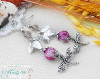 Dragonfly earrings gift Minimal earrings Valentines day gift-for-girlfriend Long dangle earrings Everyday earrings Anniversary gift-for-wife