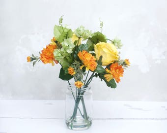 Summer Faux Bouquet - Festive Bouquet - Artificial flowers - Mothers Day Gift - Hand tied Bouquet in vase - Rustic Wedding Flowers - bouquet