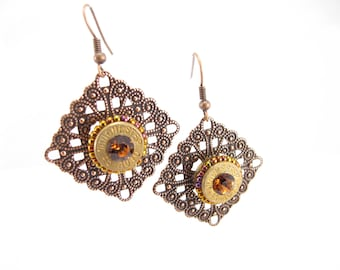 Bullet casing earrings with Winchester 45 cal bullet casing on filagree diamonds with topaz crystals  and seed beads