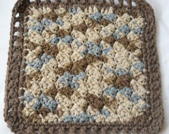 Crochet Dishcloths - dark brown/blue/beige