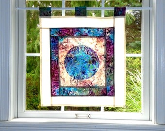 Full Calico Moon ~ Batik Stained Glass Look Fabric Pojagi Window Treatment / dorm / cafe curtain / watercolor curtain / bleached art
