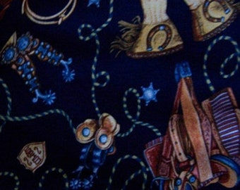 20% Off Sale Wild West Cowboy (Navy Blue) Fabric-1 Yard BTY Shamash & Sons Quilt Sewing-Out of Print