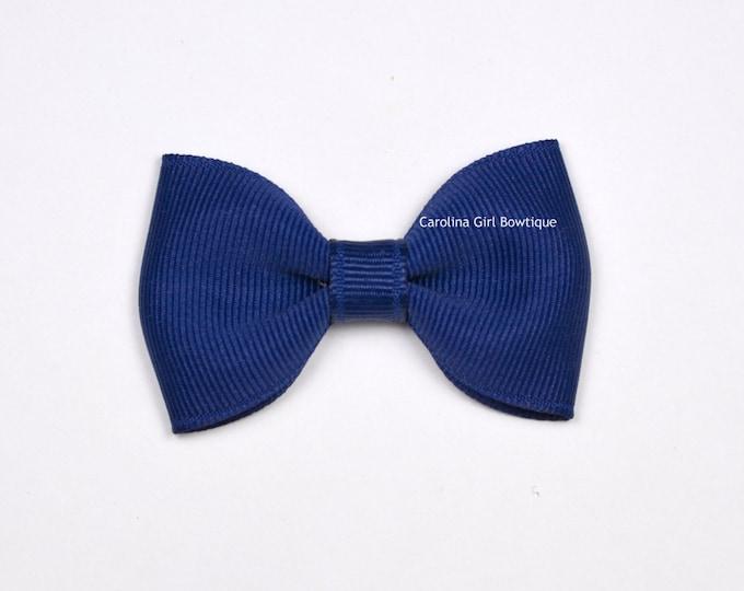 "Light Navy Tuxedo Bow  ~ 2.5"" Hairbow ~ Small Hair Bow ~ Girls Barrette ~ Toddler Bow ~ Baby Hair Bow ~ Hair Clip ~ Girls Hair Bow"