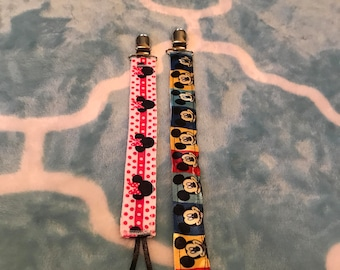 Mickey Mouse or Minnie mouse pacifier holders 8.00 each
