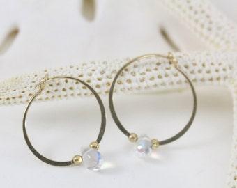 Gold filled hoop earrings Glass clear teardrop bead endless round handmade