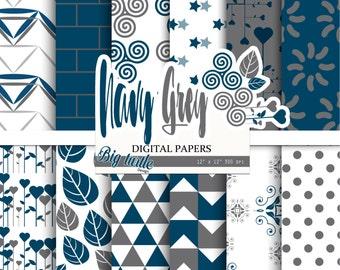 80% OFF SALE! Blue digital paper pack, navy digital paper, Scrapbook Paper, Geometric patterns, Printable Background, Digital Paper, 12 JPG.
