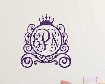 Princess Wall Decal Princess Carriage Wall Decal Monogram Wall Decal Princess Room Decal Princess Room Decor Princess Vinyl Decal