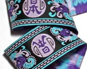 """Ribbon - 1 5/8"""" x 5 yards Black, Blue, Orchid and Purple - Asian Designed Woven Jacquard - SALE"""