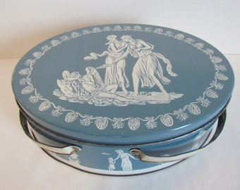 Vintage Oval  Biscuit Cookie  Tin Wedgewood Blue Fruit Cake Candy  Tin Sewing Box Basket Storage Bedroom Decor