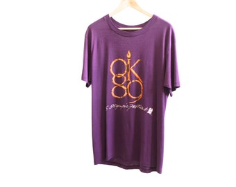 vintage OLYMPICS 1989 festival t-shirt purple oversize men's t-shirt