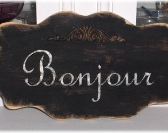 Bonjour Black Large Shabby Cottage Wall Decoration Wood Sign