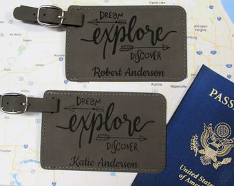 Explore Luggage Tags - Personalized Luggage Tag - Dream Explore Discover Luggage Tag - Leatherette Luggage Tag - Luggage Tags