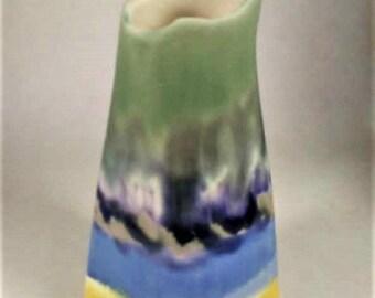Ceramic Bud Vase - Handmade Ceramics - Impressionist Bud Vase - Beach Scene - Decorative Ceramics - Impressionist Painting