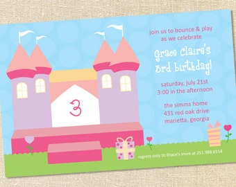 Sweet Wishes Pink Princess Bounce House Birthday Invitations - PRINTED - Digital File Also Available