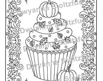 Pumpkin Cupcake Coloring Page 2 JPG