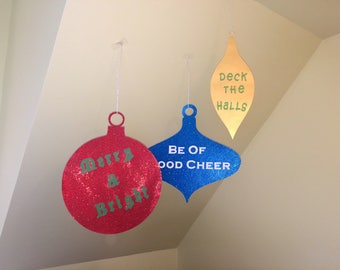 Hanging Christmas Decorations, Large Glitter Holiday Ornament Ceiling Hangers