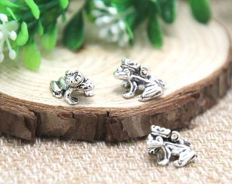 Frog Prince Charm - Fairy Tale Pendant - DIY Charm - Antique Silver - Jewelry Supplies - Pewter Necklace Charm - Once Upon a Time