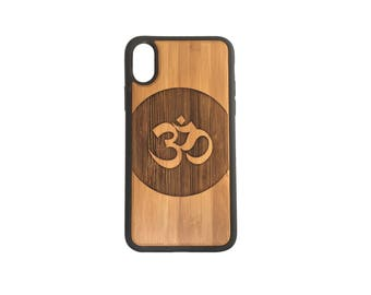 OM Circle Sanskrit iPhone Case Cover for iPhone X by iMakeTheCase Bamboo Cover + TPU Wrapped Edges Yoga Zen Hindu Meditate PRANAVA Mantra