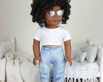 18 inch doll distressed jeans   acid wash jeans