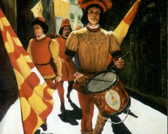 Palio Procession with a Drummer, oil, painting, wall art, Siena, Italy