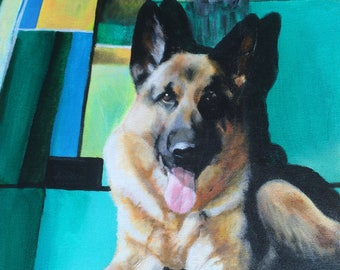 German Shepherd Painting Contemporary Art, Dog Art 11x14, Original Canvas Wall Art, Modern, Whimsical Art Work - Handpainted, No Print