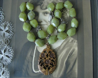 Olive Jade Carved Bone Sterling Silver Necklace, Hand Knotted Jade Necklace, Carved Bone Jade Necklace