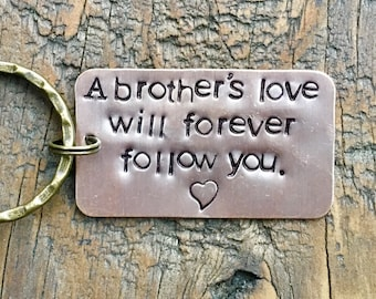 Key Chain for Brother Sister Sibling. Tribute to Brother. Loss of Loved One.  A Brothers Love. Memorial Gift. Guardian Angel.  Gone too Soon