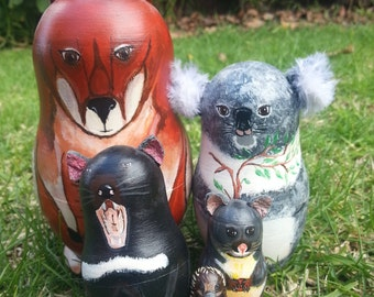 Australian Animals Nesting Dolls Babushka Matryoshka Set of 5