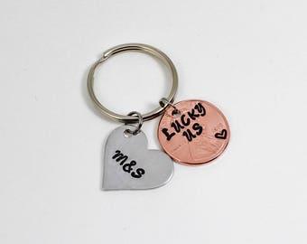 Lucky Us Keychain, Anniversary Keychain, Personalized Keychain, Couples Keychain, Anniversary Gift, Wife Gift, Husband Gift, Wedding Gift