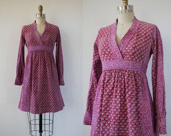 vintage 1970s Indian cotton dress / 70s india cotton dress / 70s Adini dress / 70s boho dress / 70s festival dress / 70s block print dress
