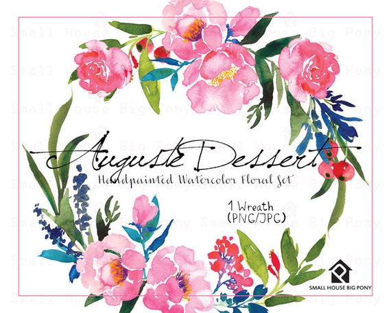 Digital Clipart- Watercolor Flower Clipart, peonies Clip art, Floral Bouquet Clipart, wedding flowers clip art- Auguste Dessert Wreath