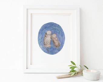 Otters Holding Hands Art Print / Watercolor / Nursery Decor / Gifts for Girls / Otters Art / Gifts for Her / Gifts for Moms / Baby Shower