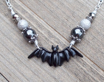 Large Black Bat Necklace - Gothic Necklace - Vampire Jewelry - Halloween Necklace - Punk Necklace - Psychobilly - Hematite Beads