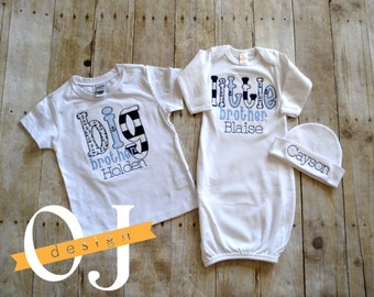 Baby boy nautical etsy big brother little brother personalized baby boy nautical newborn gift set name boy navy and negle Gallery