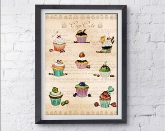 Stampe per cucina, Quadri cucina, Stampe con frutta, Quadri stampe, Stampe Botaniche, Stampe Murali, Poster frutta, Stampe digitali, Cupcake
