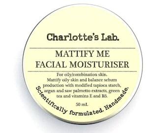 Face Cream   Mattify Me Facial Moisturiser for Oily Skin Combination Skin   Niacinamide   Natural Skin Care   Australia   Vegan Face Cream